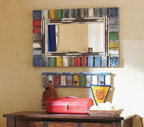 Mirror hooks cars and pottery barn kids on pinterest for Kids room mirror