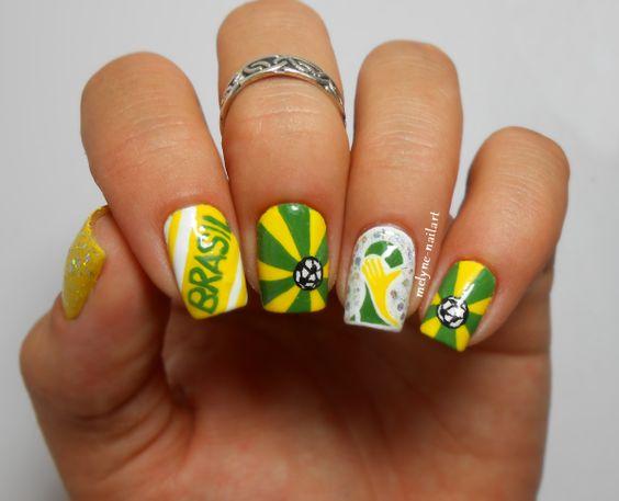 Nail art coupe du monde du Brésil http://melyne-nailart.com/2014/06/25/nail-art-coupe-du-monde-du-bresil/: