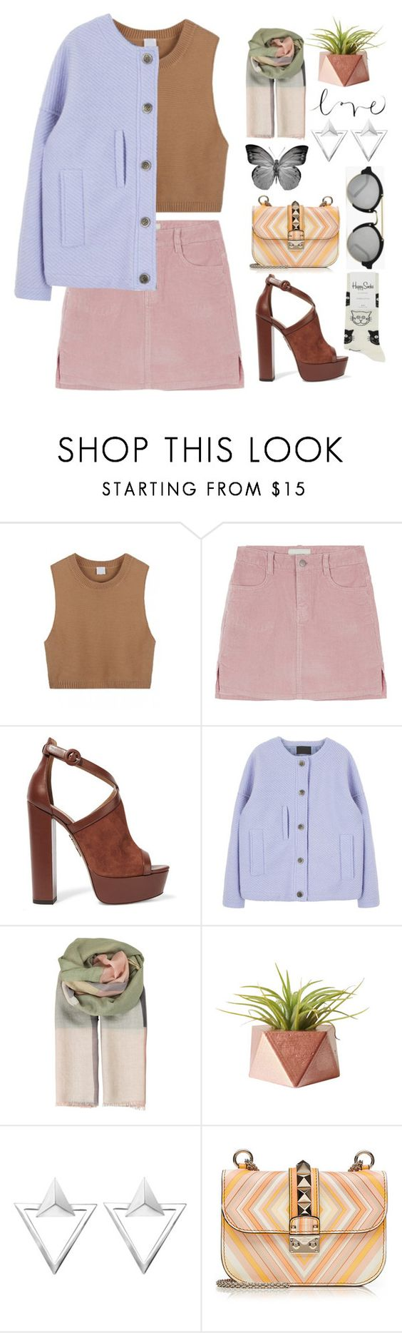 """Spring Colors"" by itsmytimetoshinecoco ❤ liked on Polyvore featuring Aquazzura, BeckSöndergaard, Dot & Bo, Dollhouse, Illesteva, Valentino, Happy Socks, women's clothing, women's fashion and women"