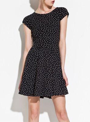 Star Printed Back Criss-Cross Short-sleeved Slim Dress