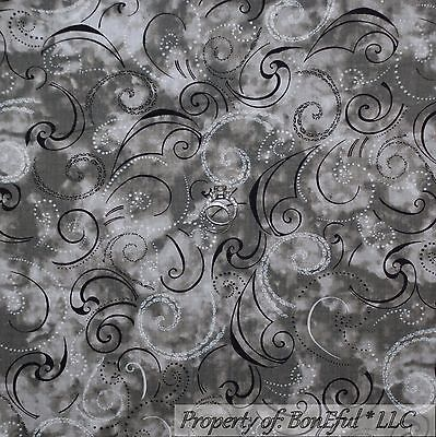 BonEful Fabric FQ Cotton Quilt Gray Black White B&W Dot Swirl Scroll Calico Xmas