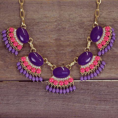 Primrose Purple Fan Fringe Necklace Set   Amazing Lace