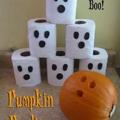Bowling for Ghosts party game.  {minus the pumpkin}