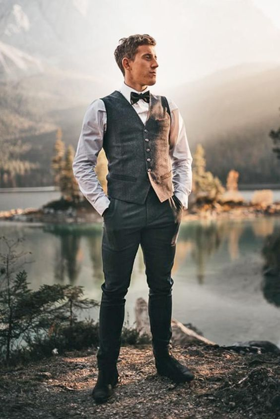 18 Stylish Groom Attire For Bohemian Wedding ❤  groom attire boho vest with bow tie #weddingforward #wedding #bride