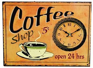 coffee kitchen decor | ... Style Coffee Shop Sign Wall Clock Clocks Sign Signs Kitchen Decor