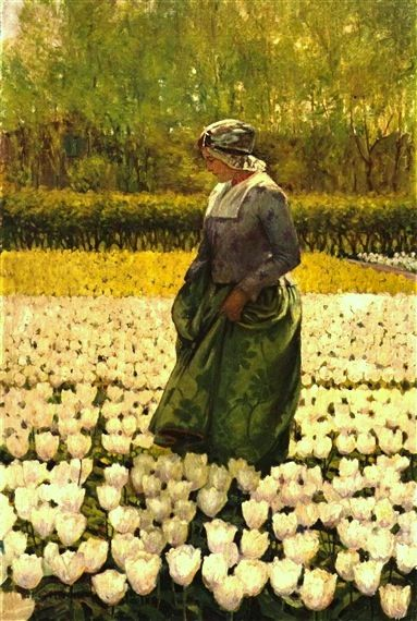 George Hitchcock - Dutch girl in a field of tulips: