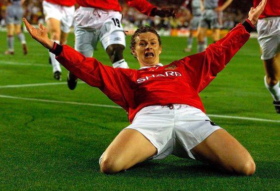 Ole Gunnar Solksjaer scores the winning goal in the 1999 European Cup final