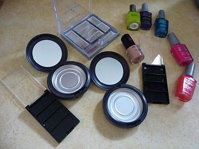 Cleaned and empty make-up containers. Fill empty containers with fun fingernail polish colors, let dry and use for pretend makeup!