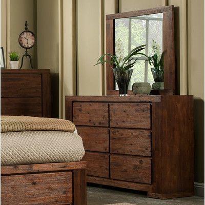 Loon Peak Creston 6 Drawer Dresser with Mirror