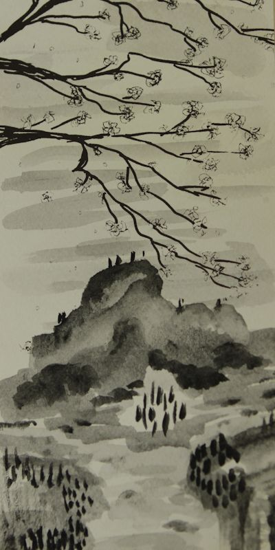 Sumi-e Painting    This style of ink wash painting originated in Ancient Japan, and often came accompanied by haiku poetry. The main purpose of this style is meditation and as a way of communicating with nature. Subjects are not painted merely for art's sake, but as a living expression of the invisible forces at work in the universe. Sumi-e is a way of exploring and understanding nature.