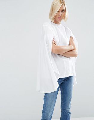 ASOS WHITE – T-Shirt mit weitem Cape