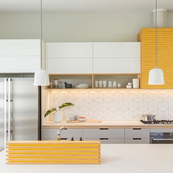 Yellow Kitchen Tiles: Instagram, Cabinets And Pine On Pinterest