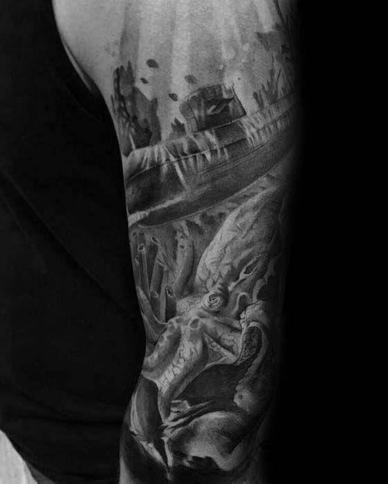 40 Ocean Sleeve Tattoos For Men Underwater Ink Design Ideas Ocean Sleeve Tattoos Tattoo Sleeve Men Sleeve Tattoos