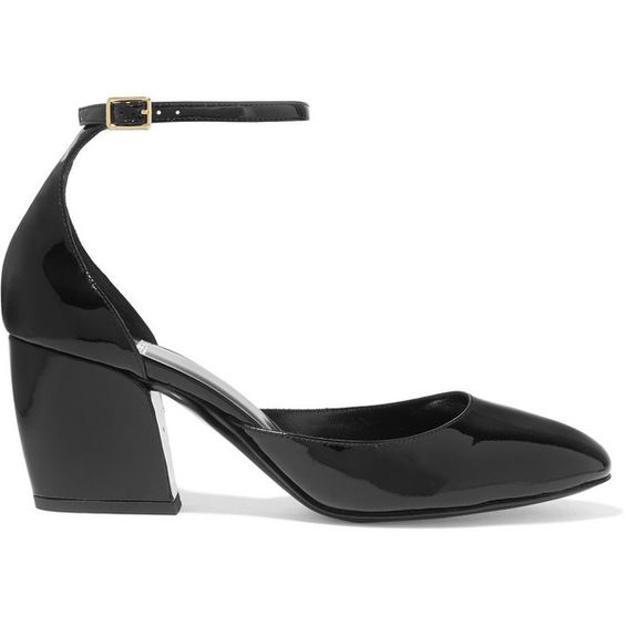Pierre Hardy Calamity patent-leather pumps ($665) ❤ liked on Polyvore featuring shoes, pumps, heels, black, patent leather pumps, black strappy pumps, high heel shoes, black patent shoes and high heel pumps