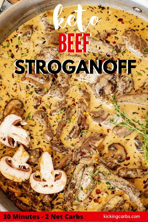 Keto Beef Stroganoff - Low Carb - One Pan - 2 net carbs - Kicking Carbs
