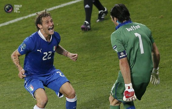 Italy's Diamanti celebrates with Buffon after scoring a winning penalty goal against England during their Euro 2012 quarter-final soccer match at the Olympic stadium in Kiev. MICHAEL DALDER/REUTERS