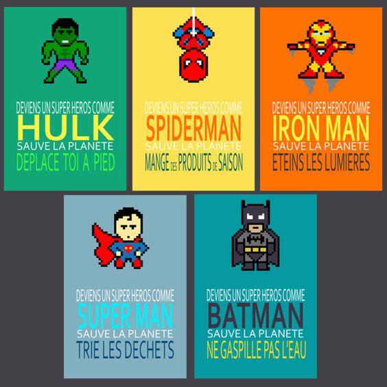 5 Affiches Superheros Avec Citations Ecolos Pour Sauver La Etsy Art Wall Kids French Poster Funny Posters