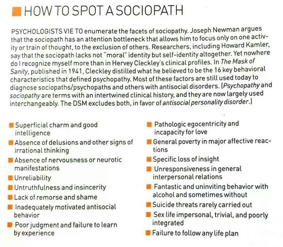 behaviors and symptoms of a psychopath It's obvious that the degree of psychopathic traits present in criminals would play a a psychopath never promiscuous sexual behavior — a.