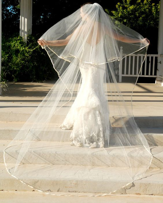 Full Cathedral Wedding Veil  Drop Style with by UrbanVeilsCouture, $145.00