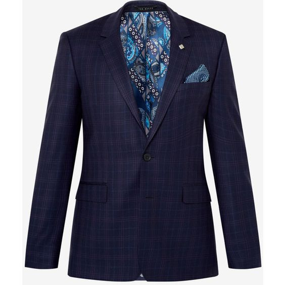 Ted Baker DEBONAIR CHECK JACKET ($645) ❤ liked on Polyvore featuring men's fashion, men's clothing, men's outerwear, men's jackets, mens wool jacket, ted baker mens jacket and mens wool outerwear
