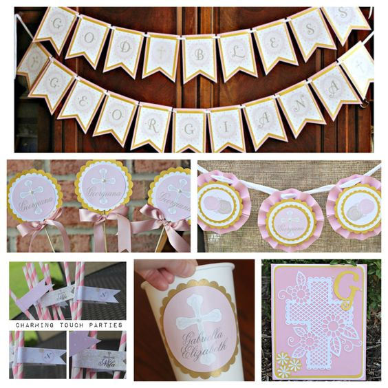 First Communion/ Baptism party decor. 6 piece religious party box. Girl / Pink / Gold / Ivory. Fully assembled and customizable. by CharmingTouchParties on Etsy