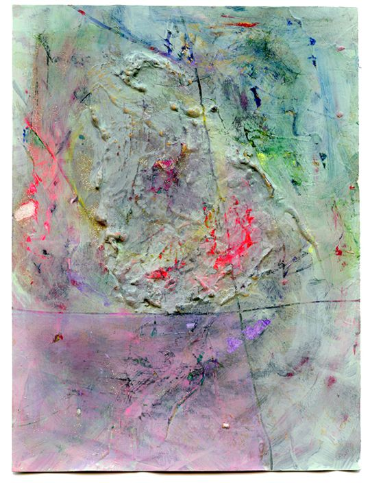 """Toasted Cement, watercolor, gouache, and nail polish on paper, 10x7.5"""", 2013"""