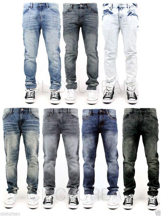 Details about KAYDEN.K Men's Acid Washed TAPERED FIT Jeans Pants ...