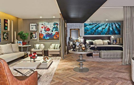 """O quarto de casal criado por Jairo de Sender foi inspirado em um """"gatão de meia-idade"""" e homenageia o artista plástico Luiz Pizarro"""