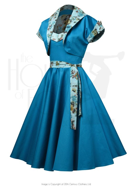 50s Prom Swing Dress Set - Aqua Flora