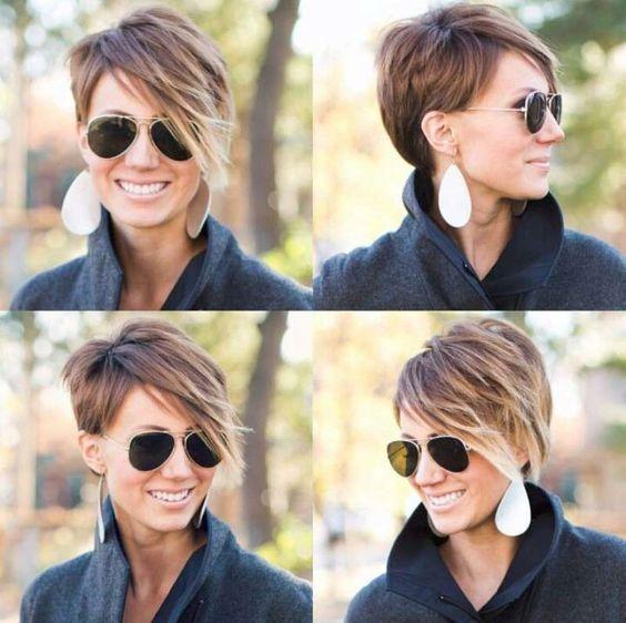 Coloration marron et nuance de blond sur cheveux courts tendance coupe automnale pinterest - Nuance de marron ...