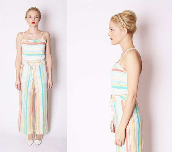 Pastel Striped Summer One Piece Pant Suit / Romper / by aiseirigh, $42.00