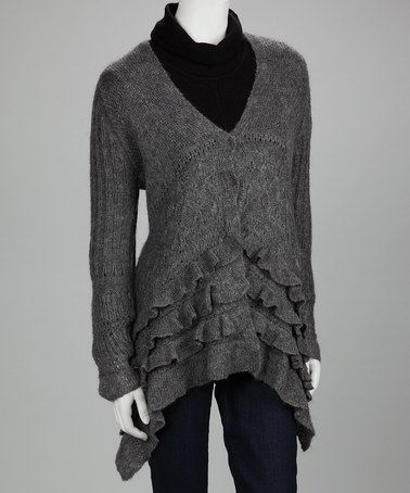 Take a look at this Gray Ruffle Wool-Aplaca Blend Sweater by Kial on #zulily today!