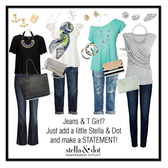 """""""Jeans & T Girl? Just add a piece of Stella & Dot!"""" by jennifoster on Polyvore"""
