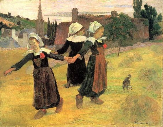 Breton Girls Dancing by Paul Gauguin: