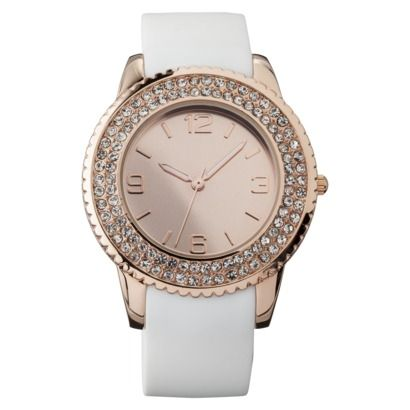Womens Merona® White Rubber Strap Watch with Rose Gold Glitz Case $16.99