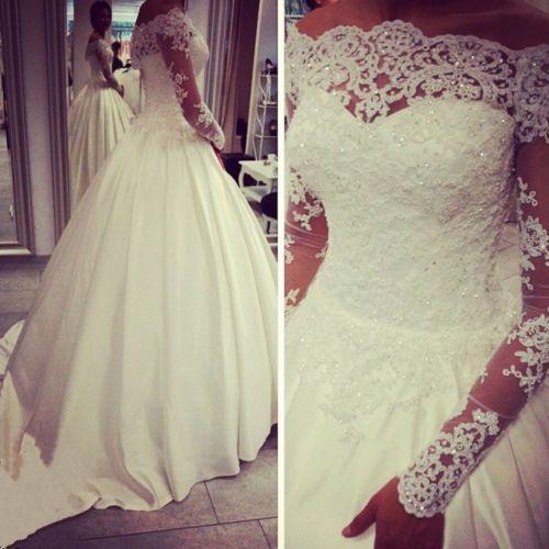 Luxury Crystals Long Sleeve Lace Bridal Bolero Wraps Jacket Shawl White Custom Long Sleeve Wedding Dress Lace Bridal Ball Gown Wedding Dresses Lace Ballgown