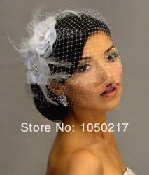 Birdcage veil with flowers