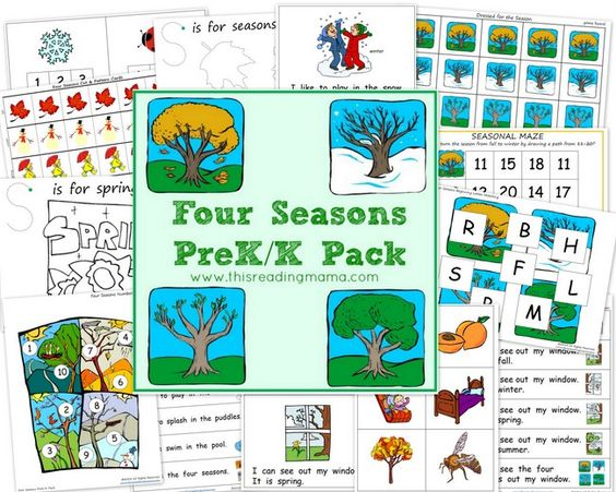the four seasons pre k k pack free beginning reading emergent readers and apple unit. Black Bedroom Furniture Sets. Home Design Ideas