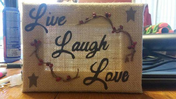 Burlap live laugh love