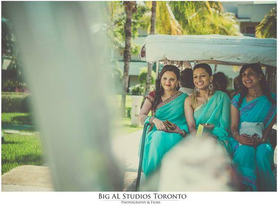 Anita and Naseer's Grand Bollywood Ismaili Cancun beach wedding at Moon Palace BY BigAl Studios, bigalstudios.ca #TorontoWeddingphotography #Indianweddingphotographertoronto #Indianweddingphotographervancouver #MoonPalace #Cancun #Whitegown #couture #walroo15 #bridesmaid #bluesari #bridesmaidsinblue