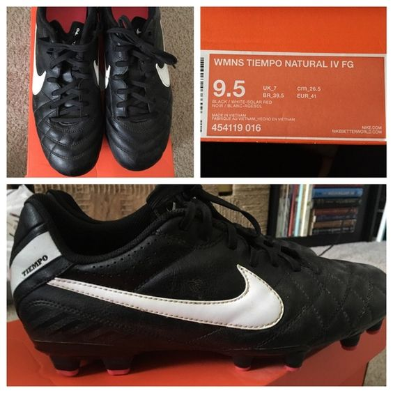 Nike Women's Tiempo Natural IV FG Soccer Cleats Black and white with hot pink (solar red) accent on cleats and inside sole. In good condition, only wore 3-4 times. Cleaned them thoroughly with rubbing alcohol and water. A couple of scuffs on the sides and front (see photos). Comes with original box. Nike Shoes Athletic Shoes