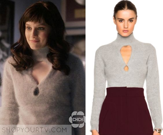 Nashville: Season 4 Episode 13 Layla's Grey Cut Out Fluffy Sweater