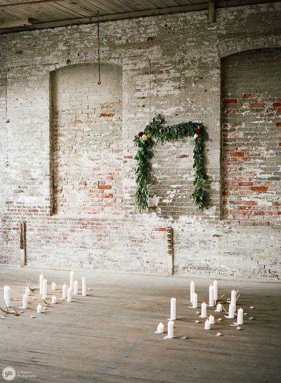 Industrial winter wedding ceremony: