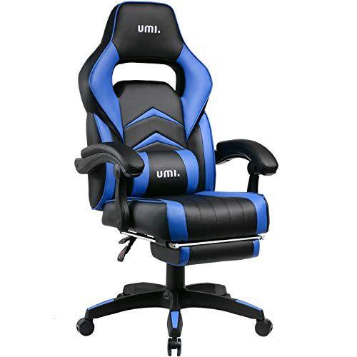 Umi Essentials Chaise Gaming Chaise De Bureau Ergonomique Avec Repose Pieds Rembourre Bleu En 2020 Chaise De Bureau Ergonomique Chaise Gaming Chaise Bureau