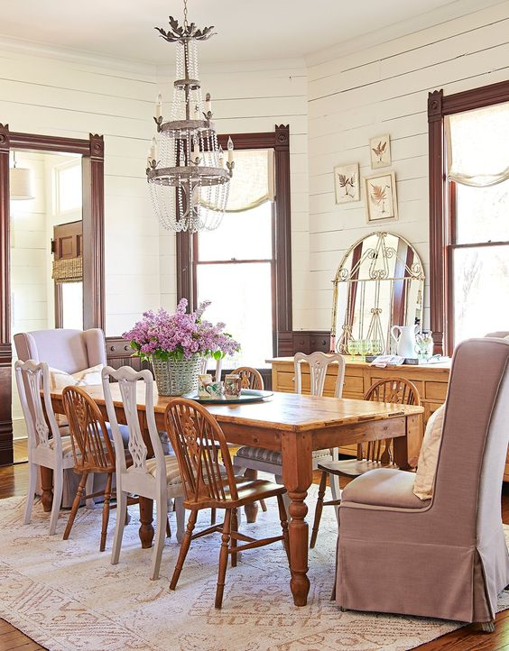 dining room with antique chairs and table