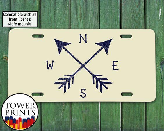 Arrows Compass Beige Navy Vintage Design Travel by TowerPrints