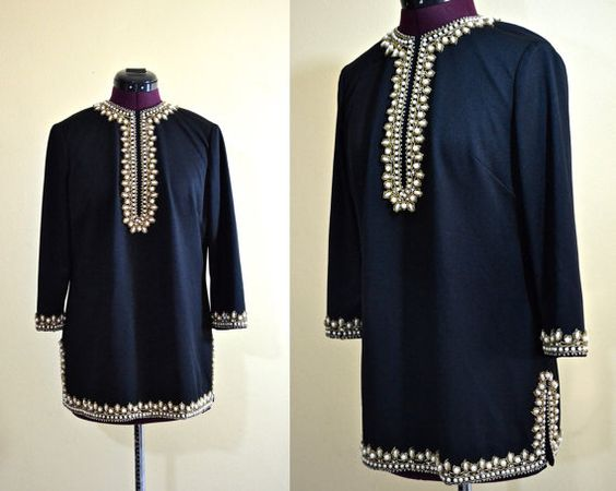 1960s Vintage Sammy Wong Imports Rhinestone and Beaded Tunic size 12 (M L) bust 36 on Etsy, $55.00
