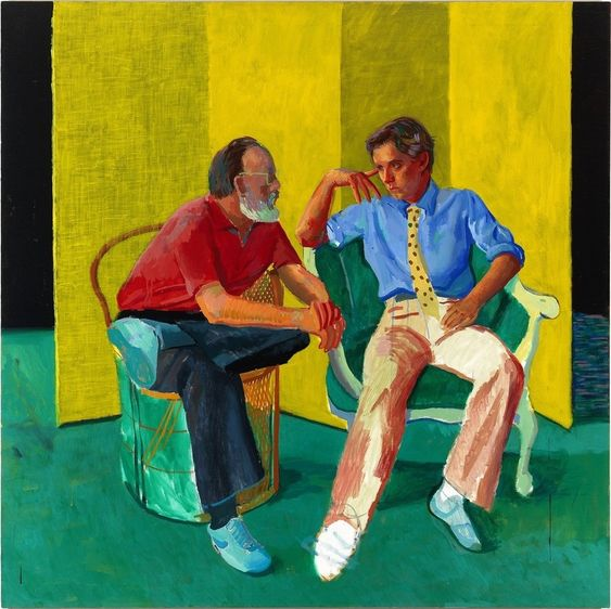 """© David Hockney, The Conversation, 1980.  Acrylic on canvas.  """"A Closer Look: Portraits from the Paul G.  Allen Family Collection"""""""