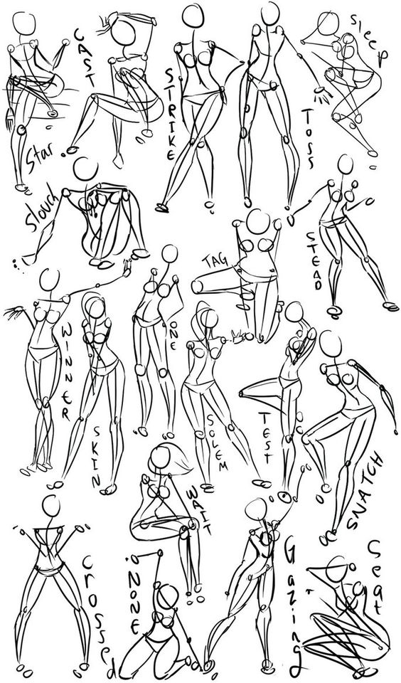 Female Power Poses -Anatomy 2 by =Oriors