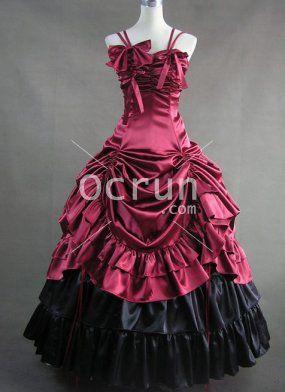 Tief Rot Spaghetti-Trägern Gothic viktorianischen Kleid